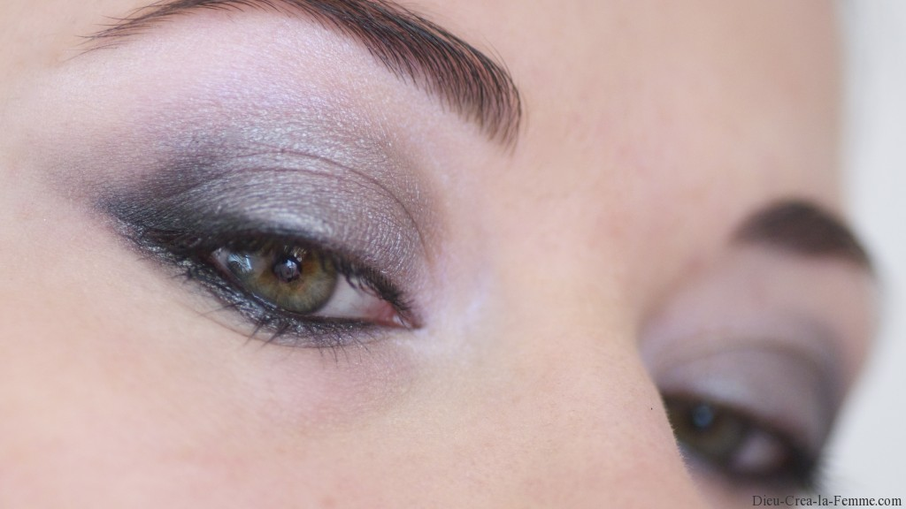 maquillage yeux marrons en gris