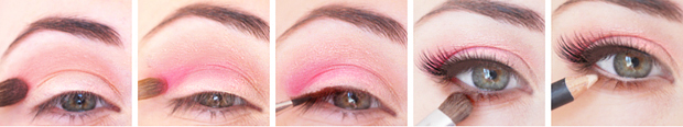 tuto tutoriel maquillage yeux peche corail rose